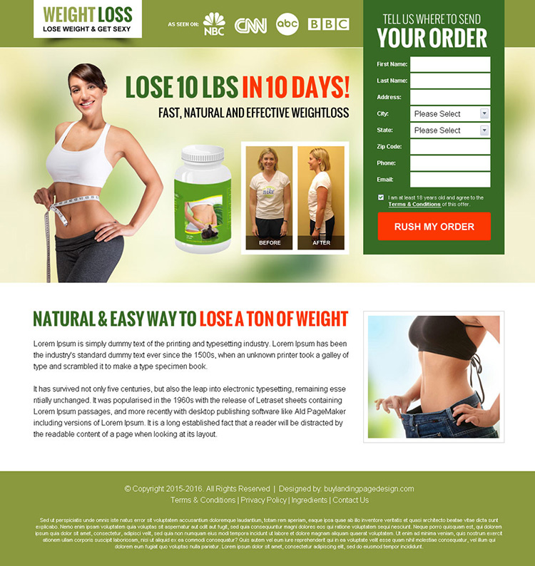 weight loss lead capture bank page design