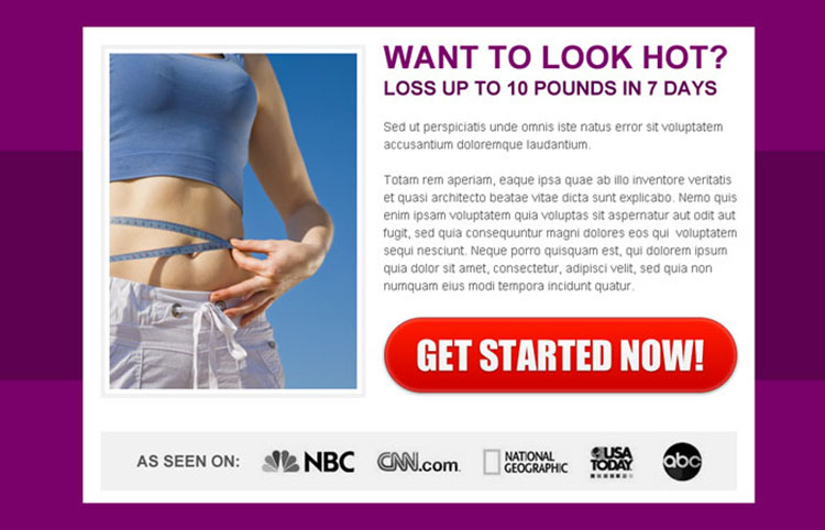 weight loss simple and attractive ppv landing page design