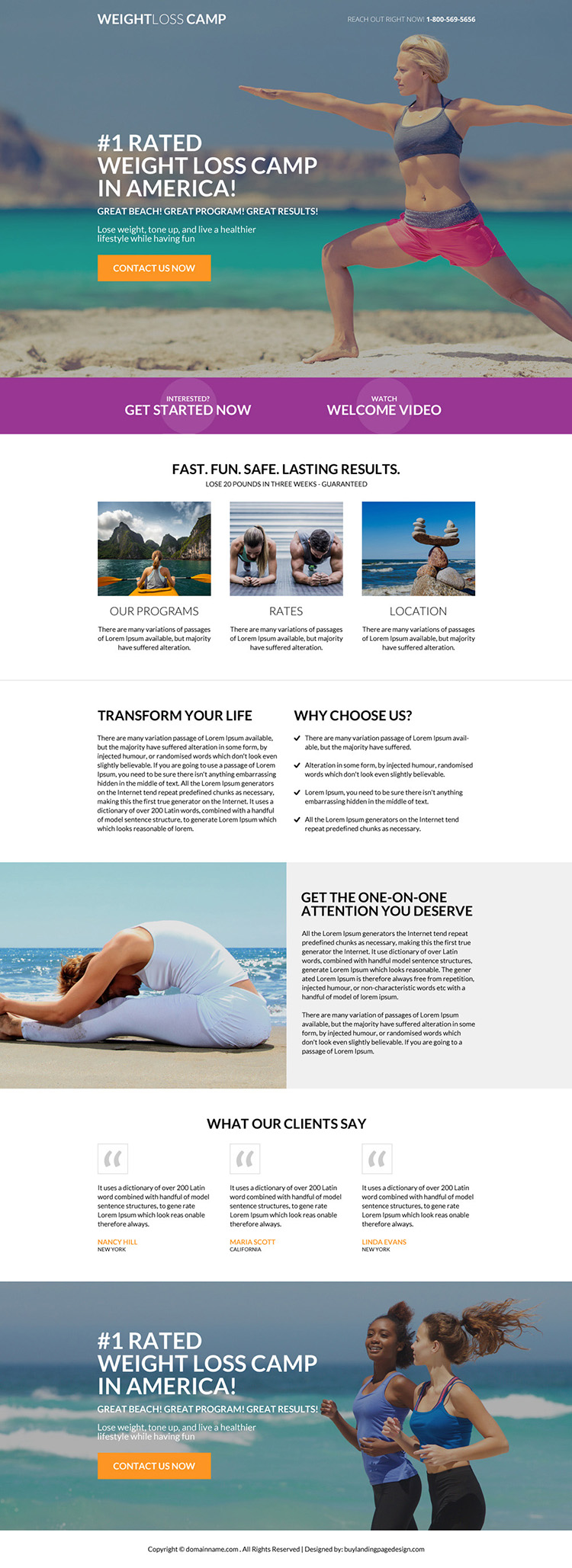 weight loss camp responsive landing page design