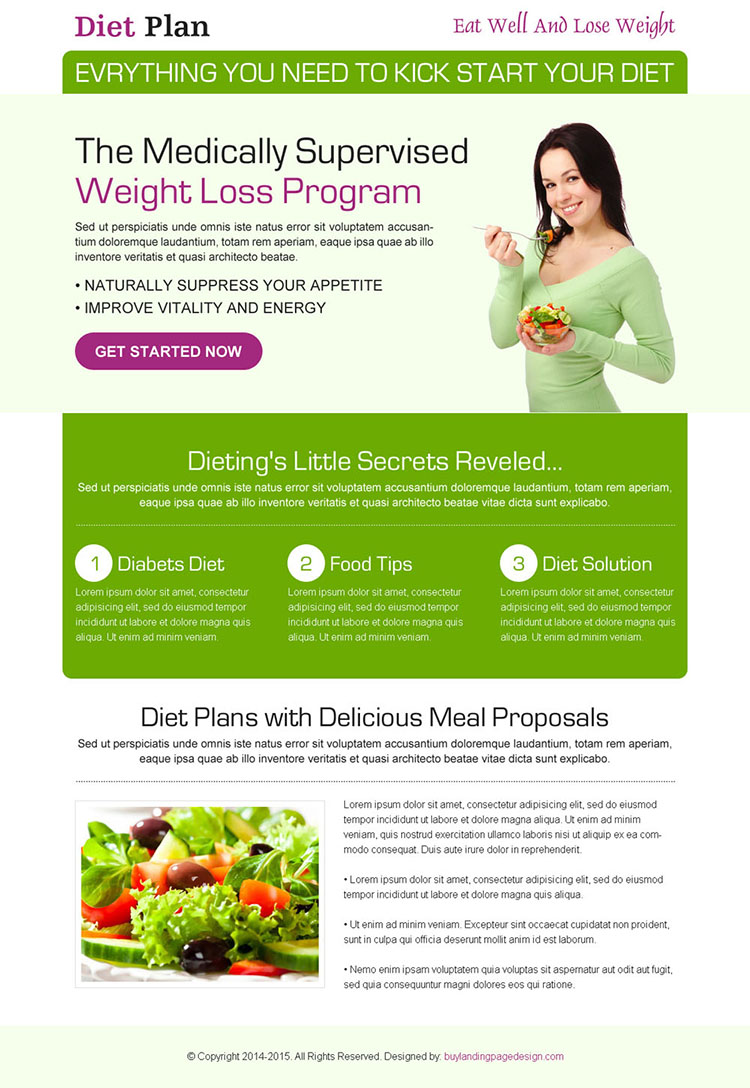medically supervised weight loss program CTA clean html lander design