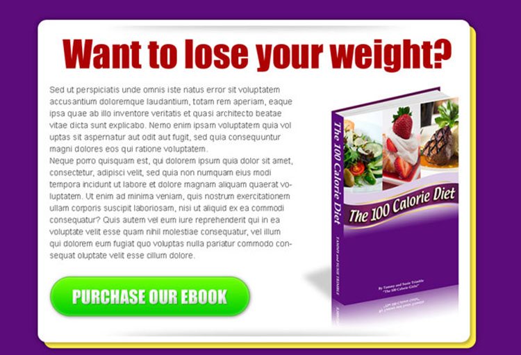 lose your weight ebook effective html ppv landing page design