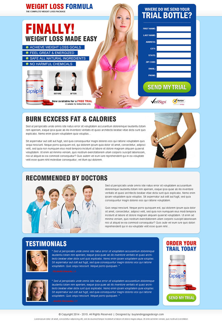weight loss formula top converting product landing page to maximize your revenue