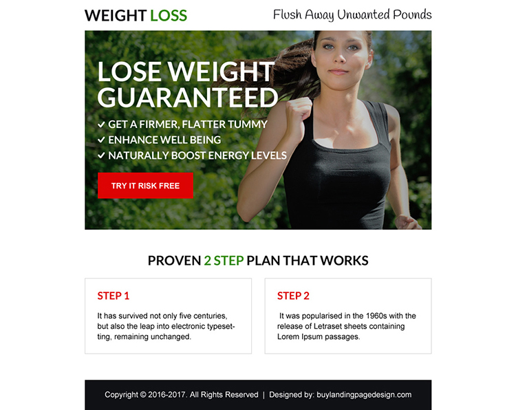 weight loss guaranteed call to action ppv landing page