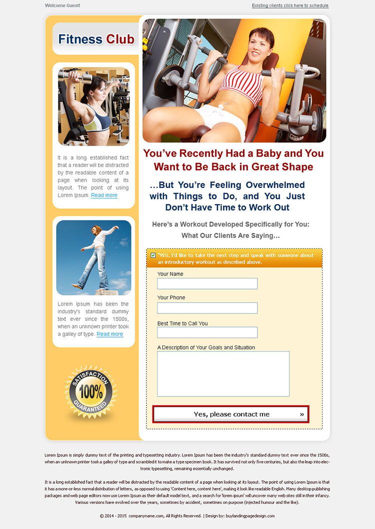 weight loss lead capture landing page