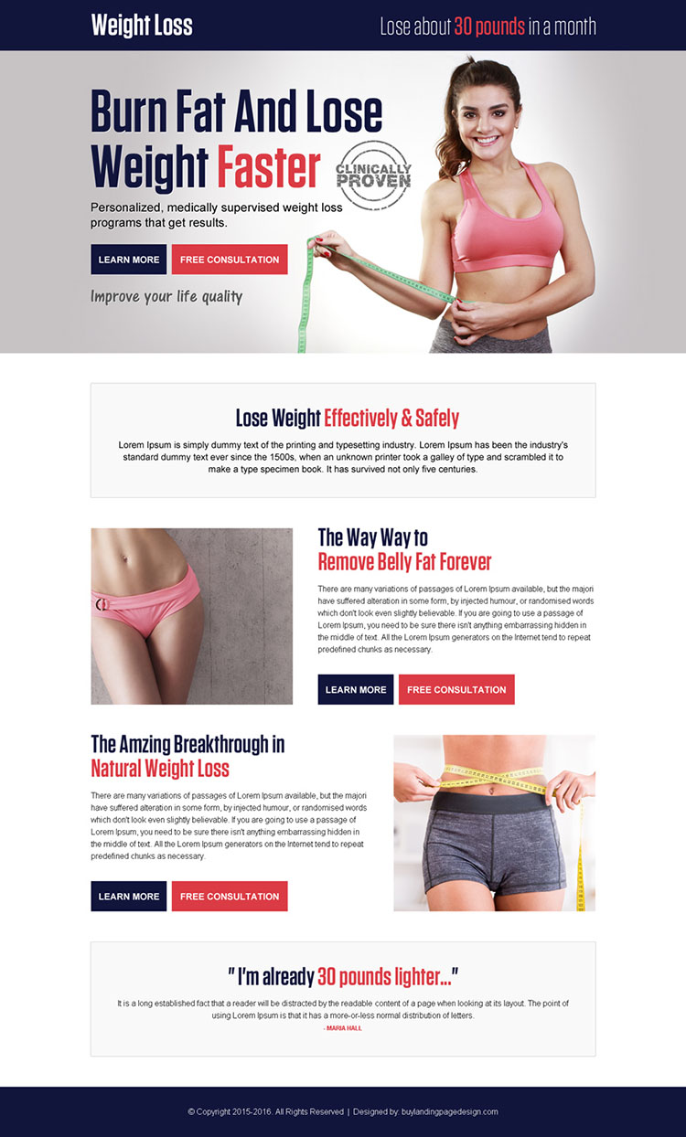 weight loss pay per click landing page design template