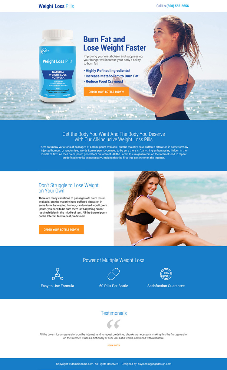 clean weight loss pills selling mini landing page design