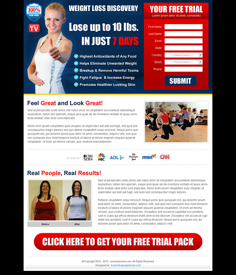 weight loss product free trial landing page design templates
