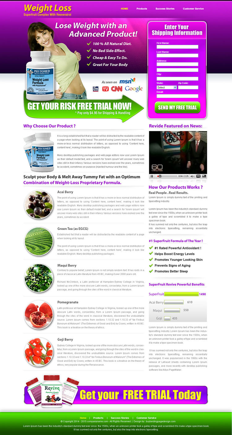 weight loss product lead capture landing page design templates