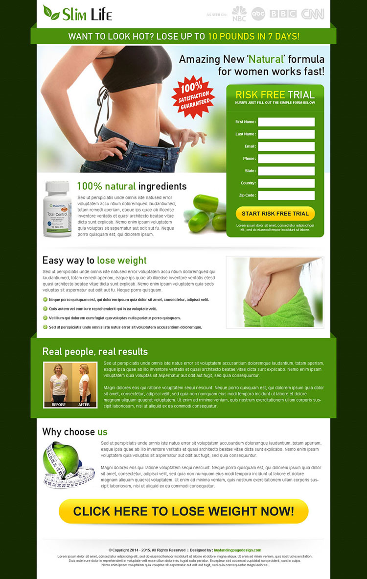 slim life weight loss product lead capture converting landing page design