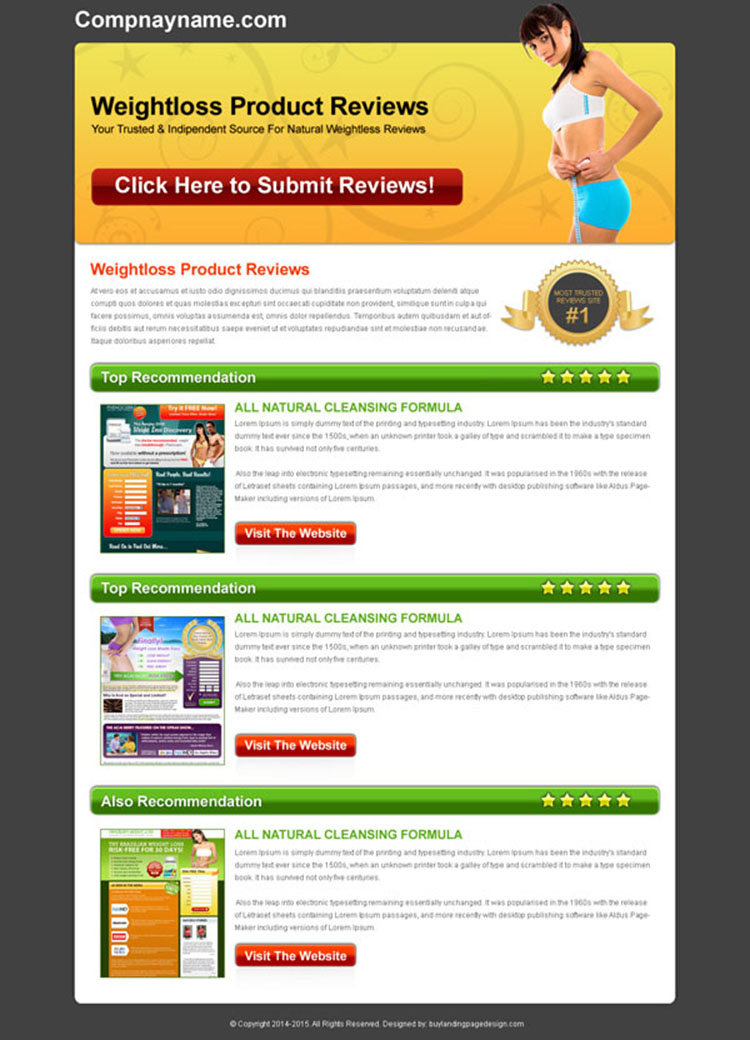 weight loss product top recommendation review html landing page design