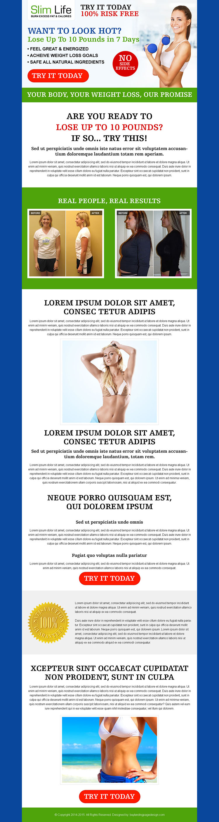 weight loss product long call to action most converting sales page design
