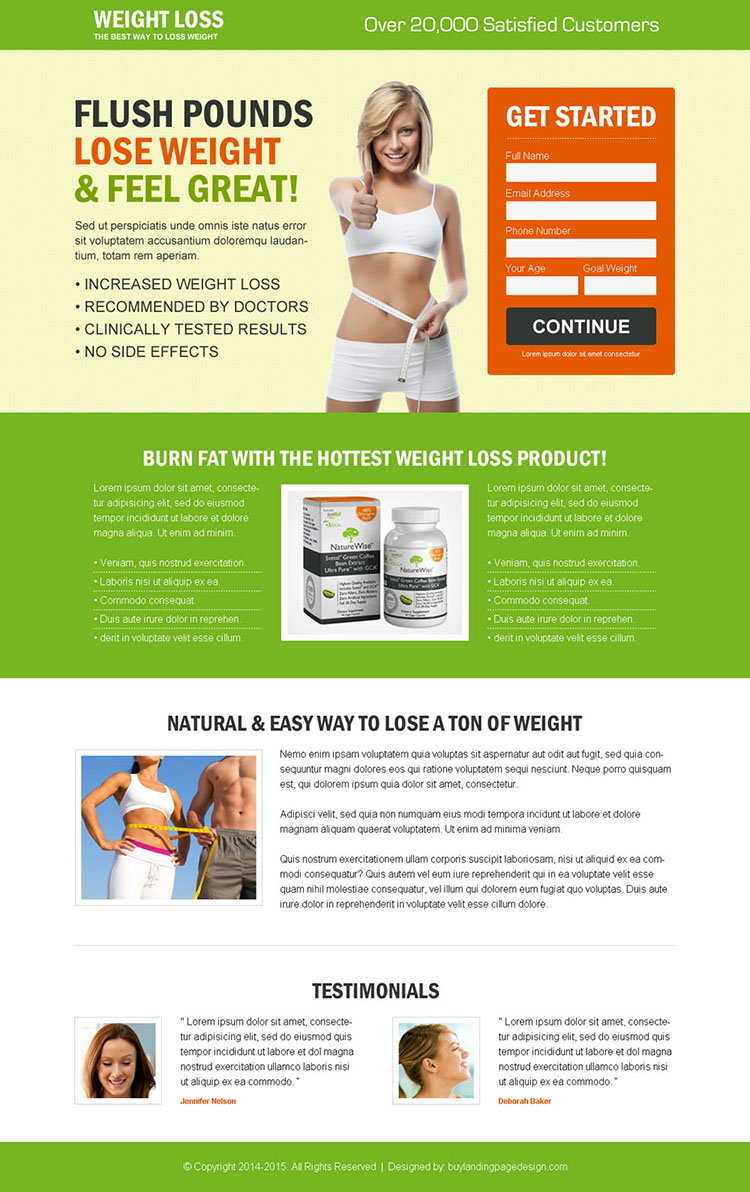weight loss small lead capture product selling effective landing page design