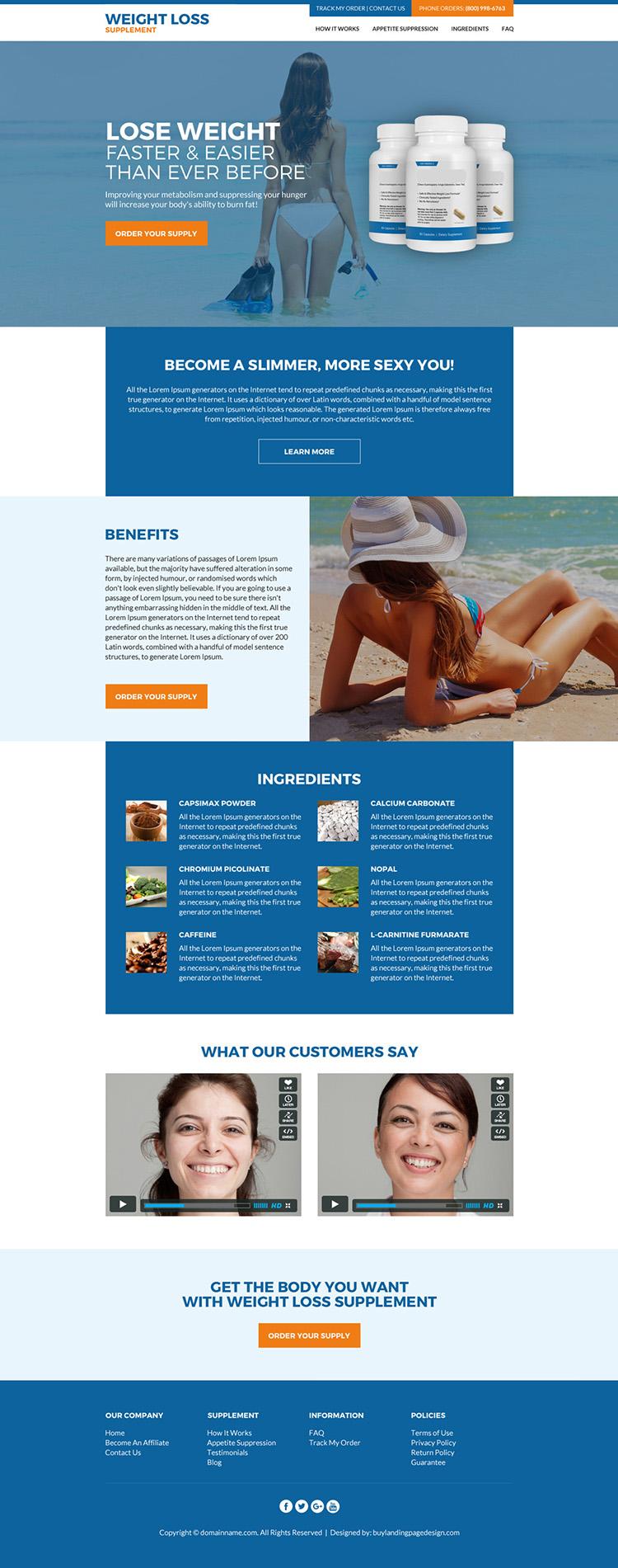 weight loss supplement html website design