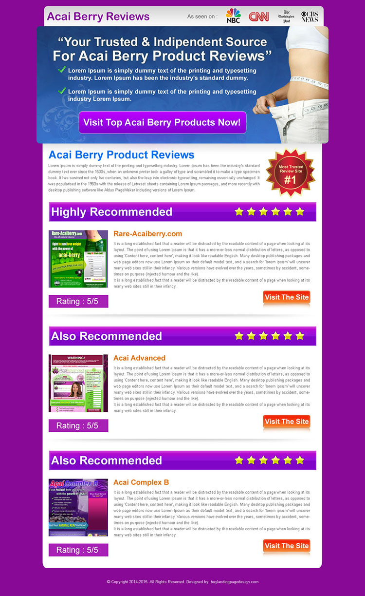 acai berry top 3 product review html landing page design