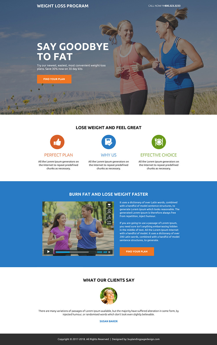 weight loss program minimal lead gen landing page design