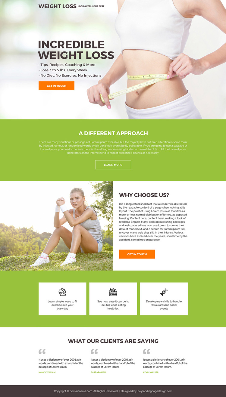 clean and minimal weight loss call to action landing page