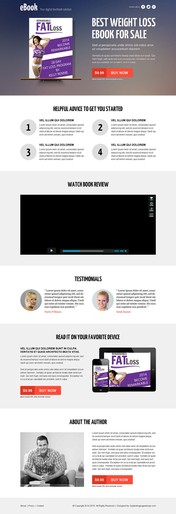 weight loss responsive ebook landing page design with video