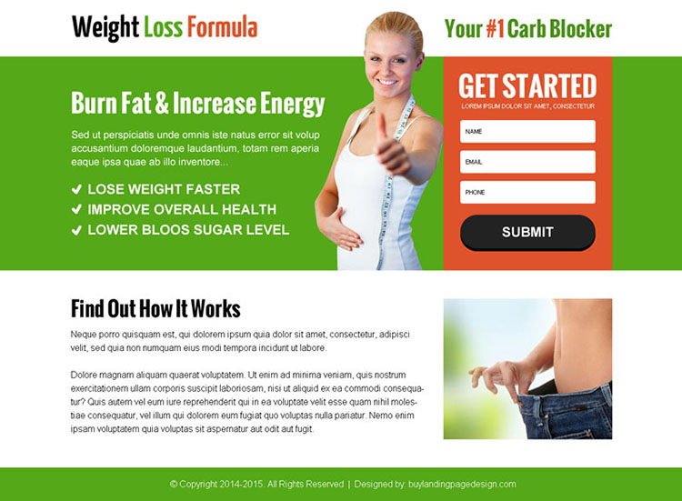 weight loss service lead capture ppv landing page design