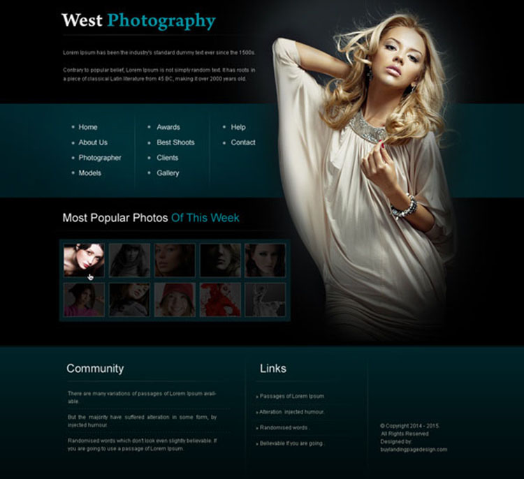 creative and appealing photography website template design psd