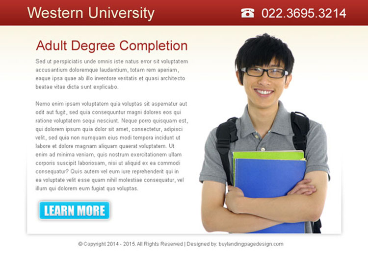 adult degree completion clean and converting ppv landing page design