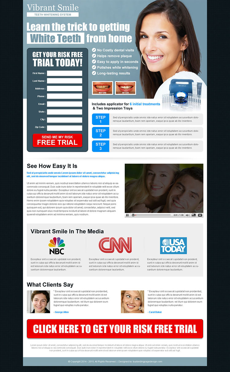 vibrant smile risk free trial lead capture landing page to boost your traffic and leads