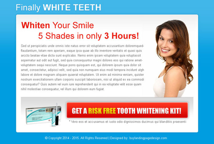 whiten your smile attractive call to action ppv landing page design template