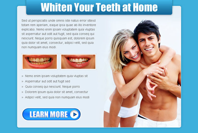 whiten your teeth at home call to action ppv landing page design