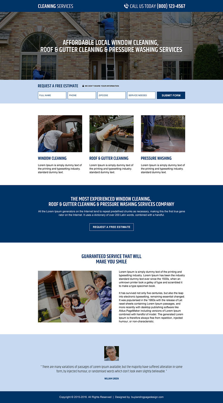pressure washing service company lead capture landing page design