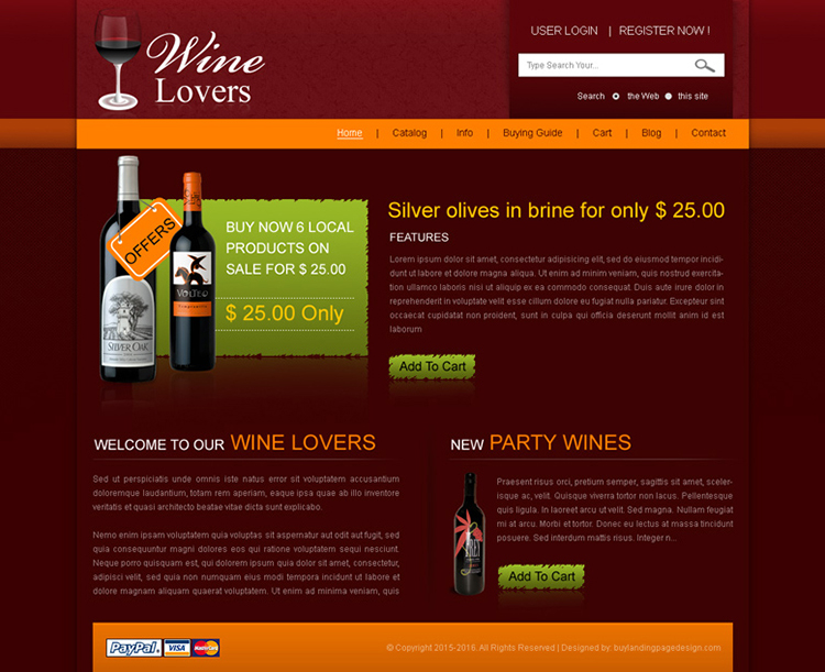 wine lovers online website template design psd