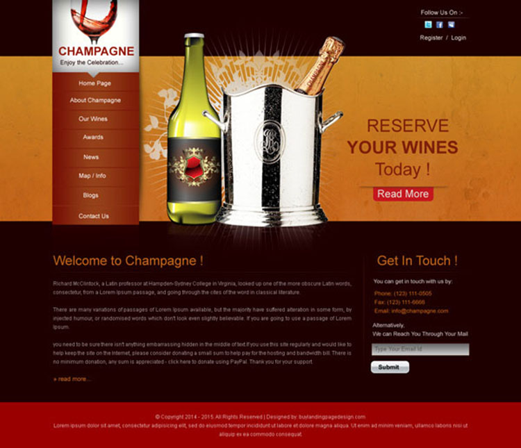 simple website design psd for wine store introductory page