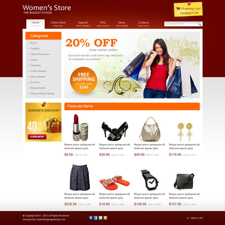 women fashion store effective and converting website template design psd