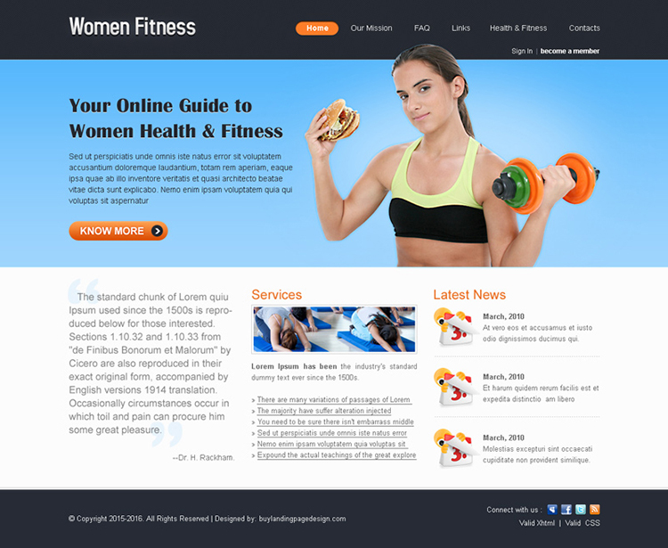 women fitness minimal website template design psd for sale