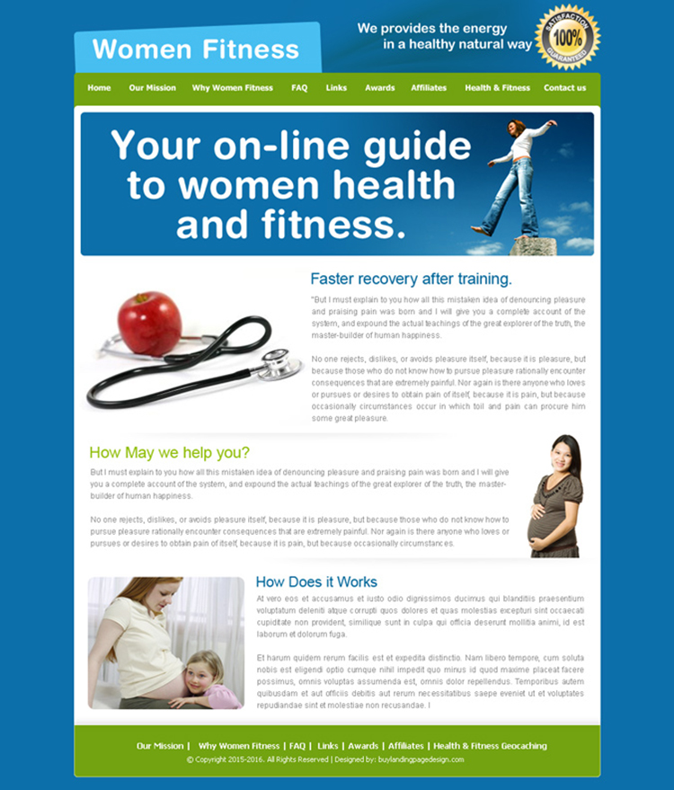 women health and fitness guide website template design psd for sale