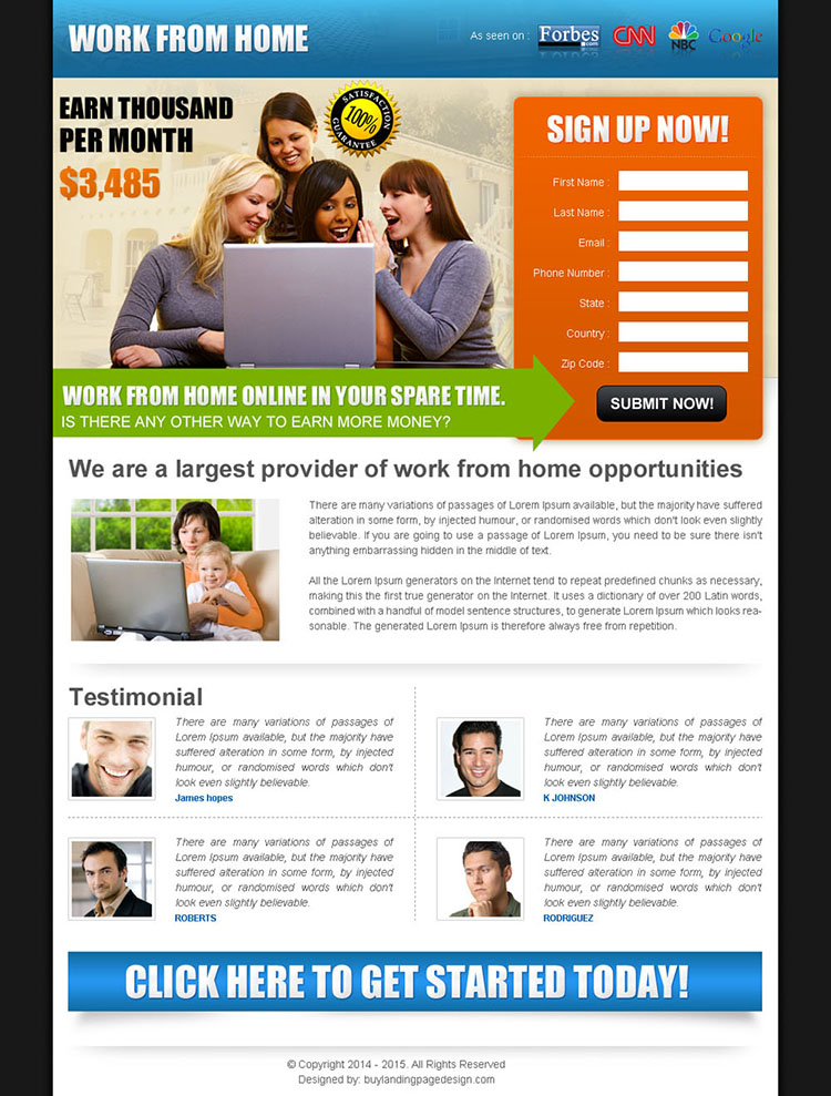 work from home in your spare time converting squeeze page design