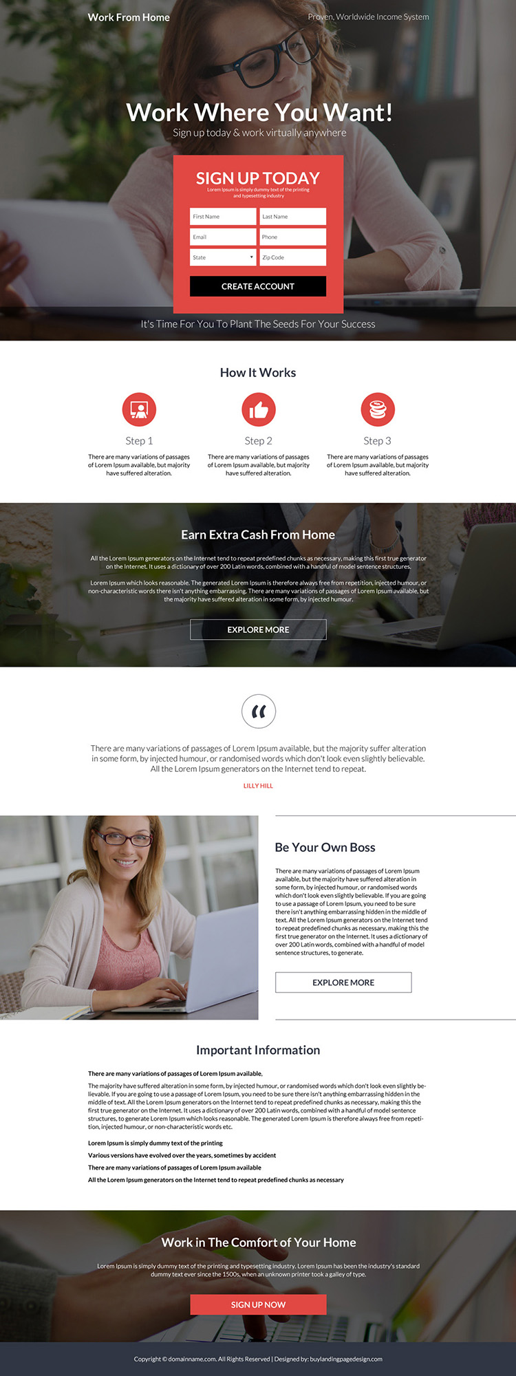 work from home sign up capturing bootstrap landing page