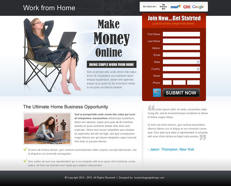 work-from-home-business-idea-lp-005 | Work from Home Landing Page ...