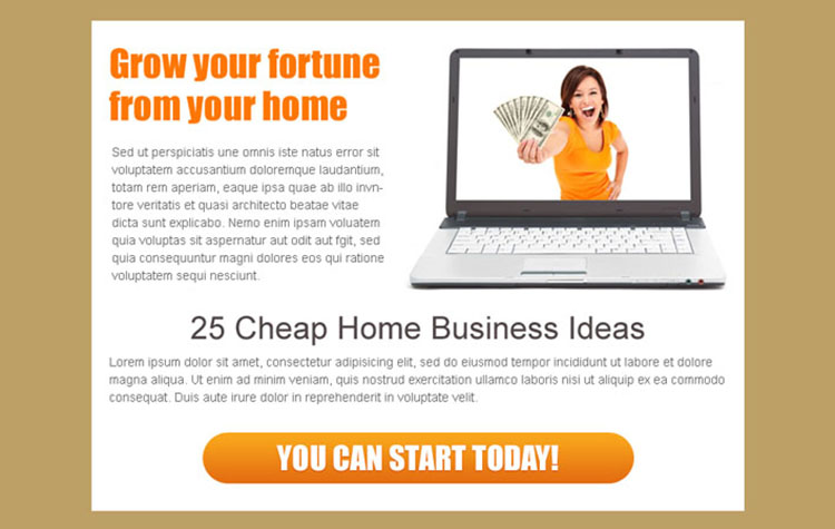 25 cheap home business ideas ppv landing page design