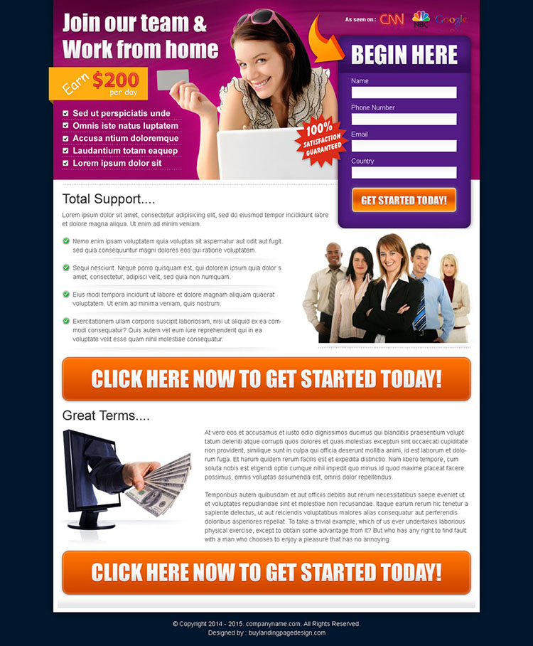 beautiful work from home business converting landing page design