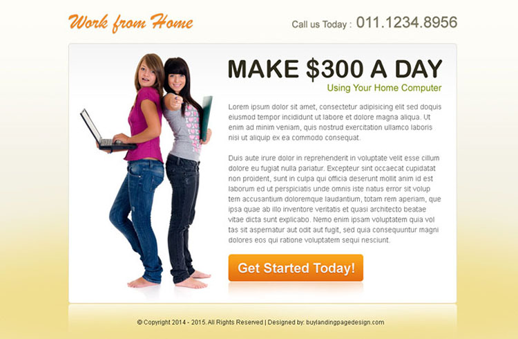 work from home clean cta ppv landing page design