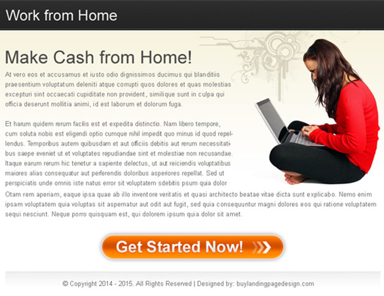 work from home business call to action ppv landing page design