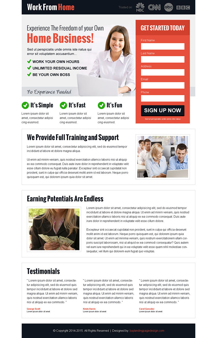 experience the freedom of your own home business lead capture landing page design