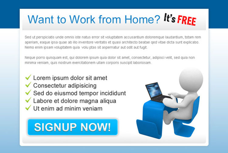 work from home sign up now call to action ppv landing page design templates