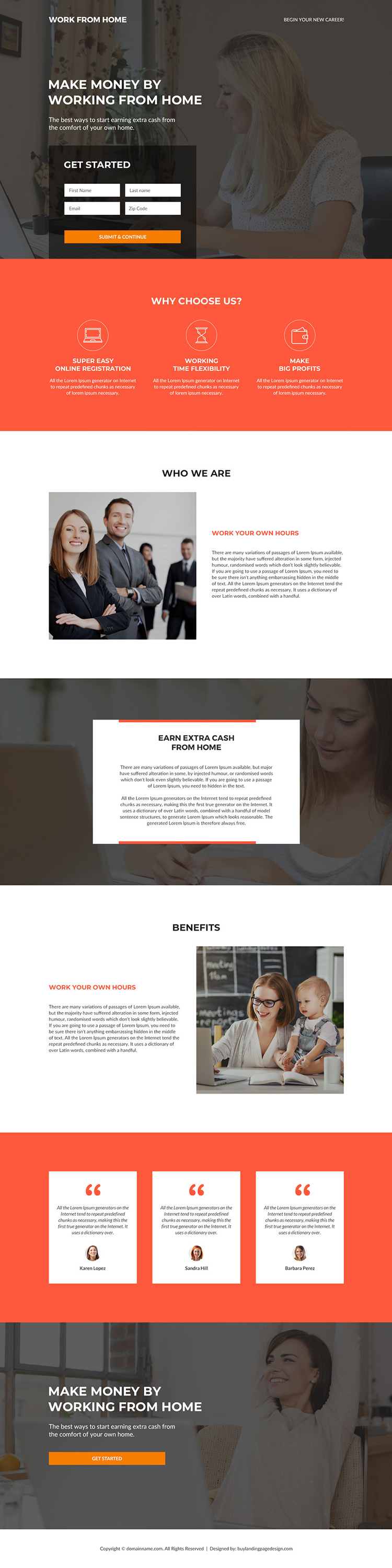 work from home business responsive landing page design