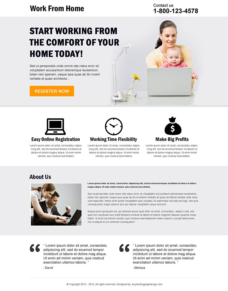 minimal work from home landing page design