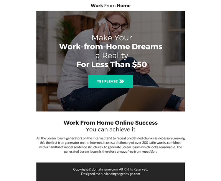 professional work from home ppv landing page