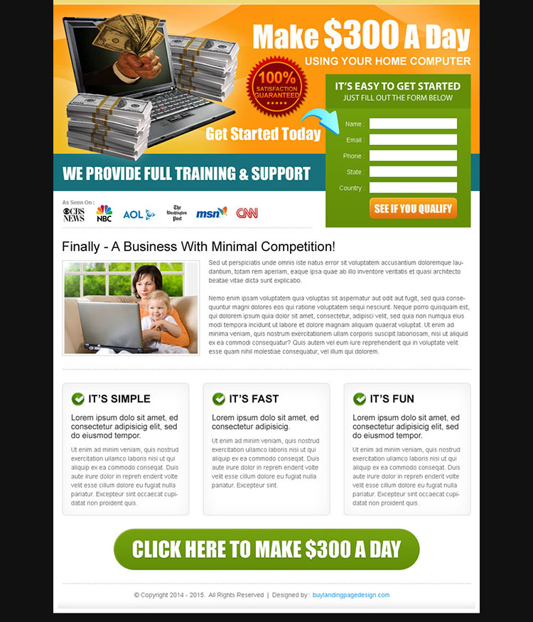 work from home lead capture effective landing page