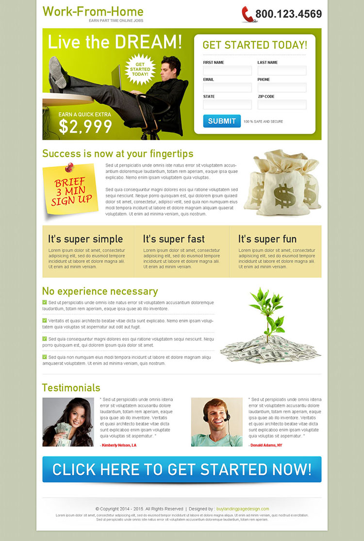 work from home 2 column clean and converting squeeze page design