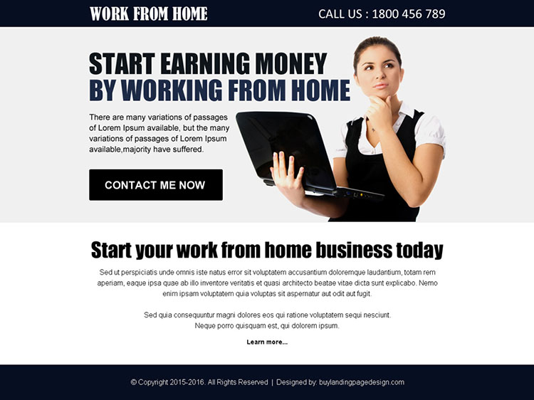 work from home opportunity ppv landing page design template