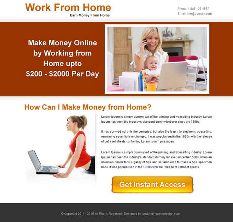 work from home instant access call to action ppv landing page design