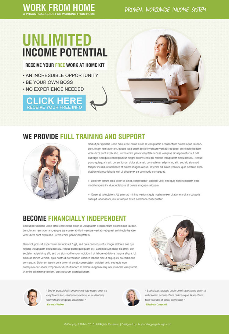 minimal work from home responsive landing page design
